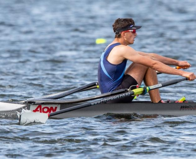 Cromwell College's Mathew King on the way to claiming bronze in the under-16 boys single sculls....