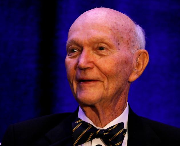Apollo 11 astronaut Michael Collins speaks at a panel discussion on the 50th anniversary of the launch in 2019. Photo: Reuters
