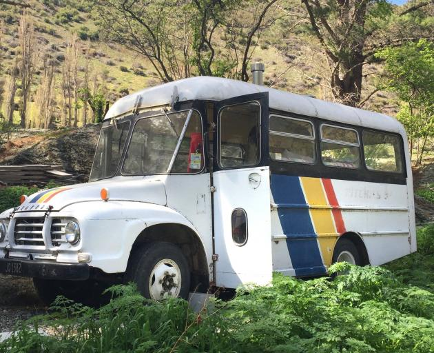 Billy the Bus parked on a section in the Kawarau Gorge in September 2016. PHOTO: SUPPLIED.