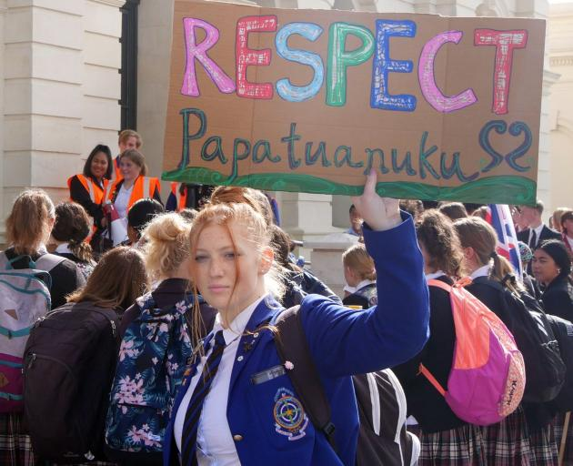 St Kevin's College pupil Koru Barry (16) protests as part of the School Strike 4 Climate outside...