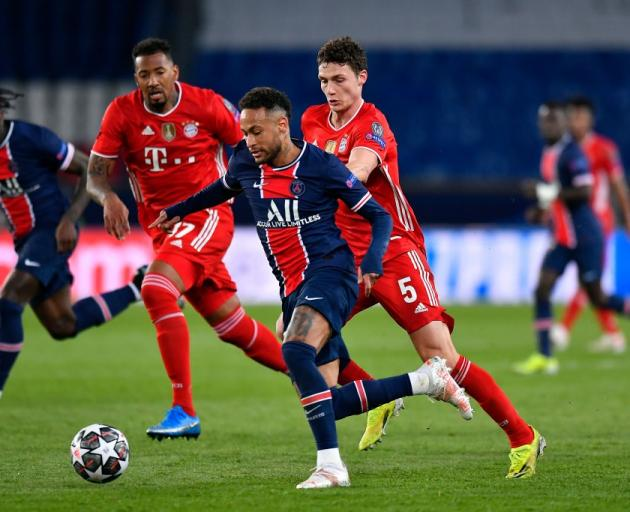 Neymar on the run for PSG against Bayern Munich yesterday. Photo: Getty Images