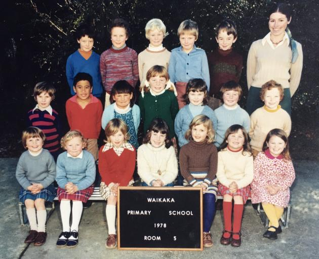 Mrs Ryan with her first class at Waikaka School in 1978. Photo: Supplied