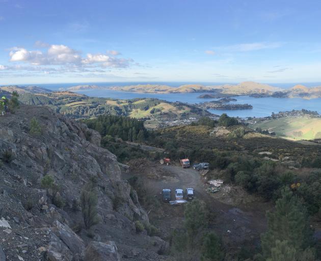 University of Otago geology students look towards Otago Peninsula from Mount Zion, on Mount...