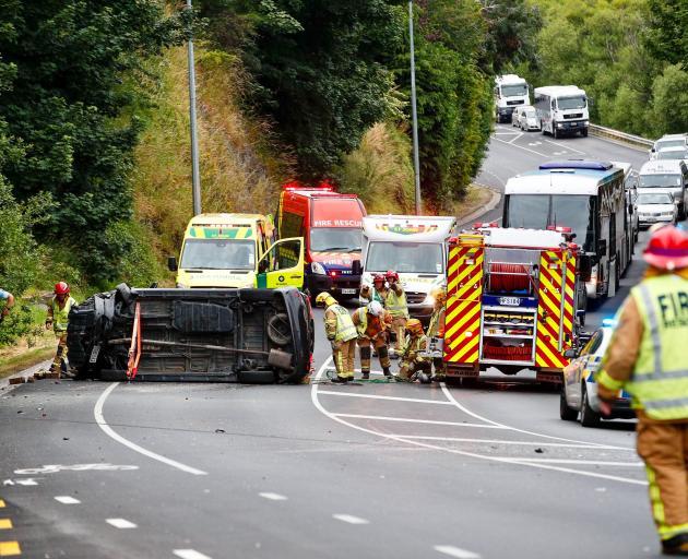 Emergency services work to free Lochana Kulasiri following an horrific crash on Frankton Rd last...