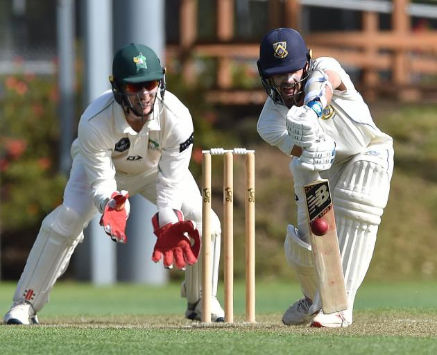Michael Rippon, here playing the ball in front of Central Districts wicketkeeper Dean Cleaver,...