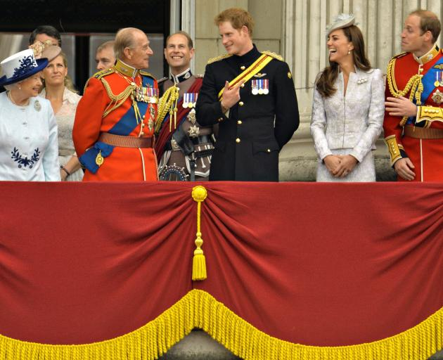 From left: The Queen, Prince Philip, Prince Harry, Catherine, Duchess of Cambridge and Prince...