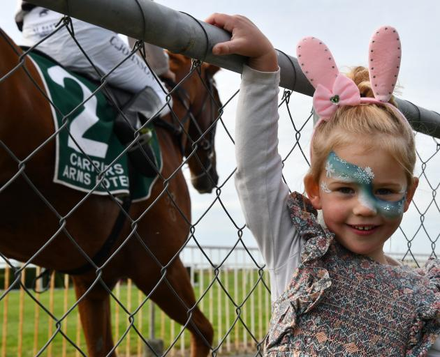Cora Hale (4), of Wanaka, enjoys spending time with her family at the races.