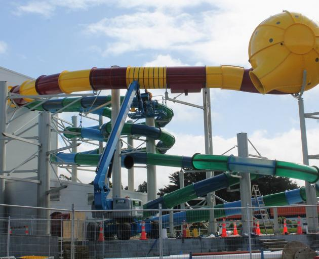The new hydroslide at Invercargill's Splash Palace, seen here in mid-March, is due to open later...