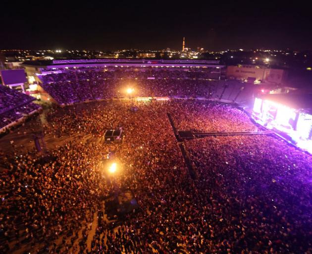 The historic first concert to be held at Eden Park is sold out with 50,000 people in attendance. Photo: Getty Images
