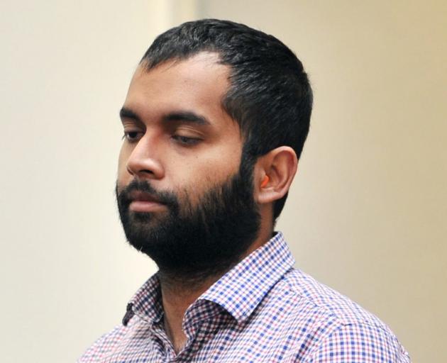 Venod Skantha in the Dunedin High Court for sentencing today. Photo: Christine O'Connor