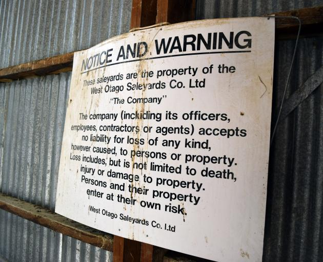 A warning sign in Heriot saleyards.
