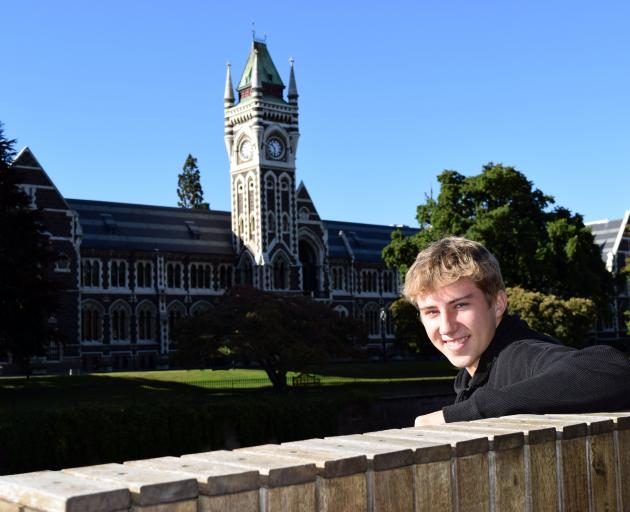 University of Otago commerce student Jack Coakley relaxes on campus in Dunedin. PHOTO: SHAWN...