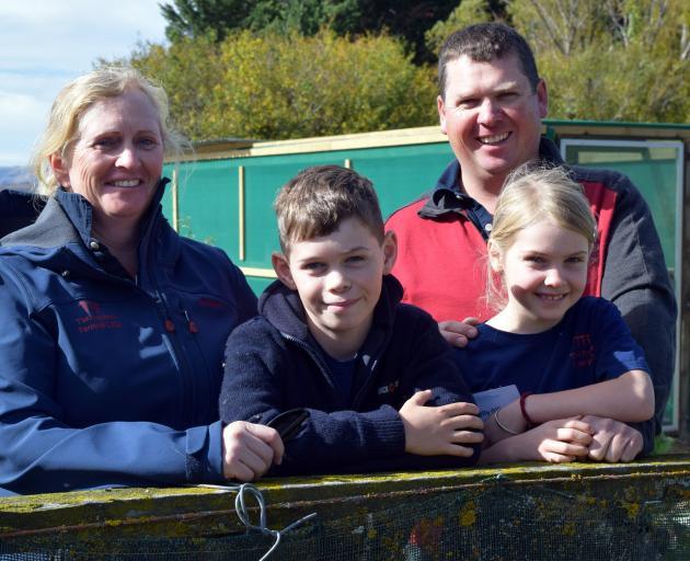 Otago Ballance Farm Environment Awards supreme winners Ben and Anna Gillespie and their children...