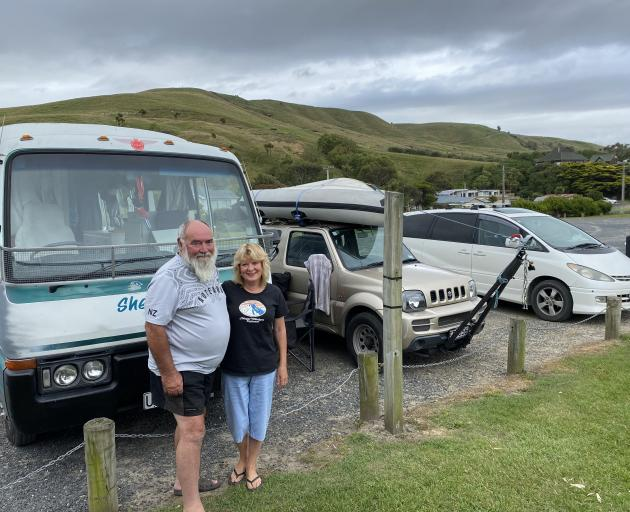 Kiwi freedom campers Allan and Cathy Luchford, of Christchurch, at Ocean View freedom camping...