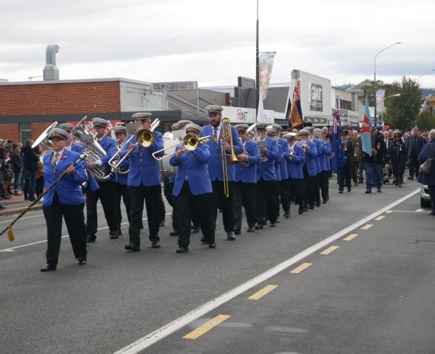 The Mosgiel Brass Band leads the Anzac Day parade from the Mosgiel Memorial RSA to Anzac Park on...