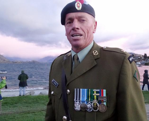 New Zealand Army reservist Major Ian Piercy, who conducted the Anzac Day dawn service at Wanaka....
