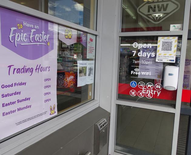 Easter trading hours are advertised at  New World supermarket in Wanaka. Photo: Kerrie Waterworth