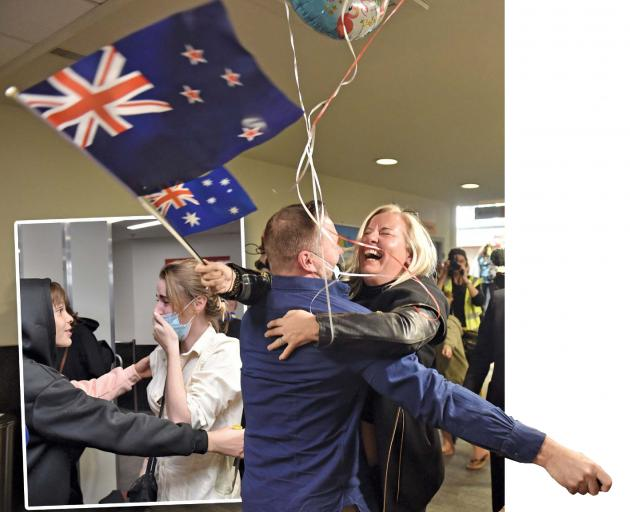 Melissa Jenner, of Queenstown, welcomes good friend Nate Dawes, of Sydney, at Queenstown Airport yesterday. Inset: Orlando de Torres, of Queenstown, is happy to see his older sister Chloe, who arrived from Sydney. PHOTOS: GREGOR RICHARDSON