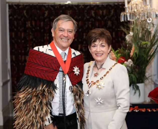 Sir Ian Taylor with Governor-General Dame Patsy Reddy. Photo: Government House