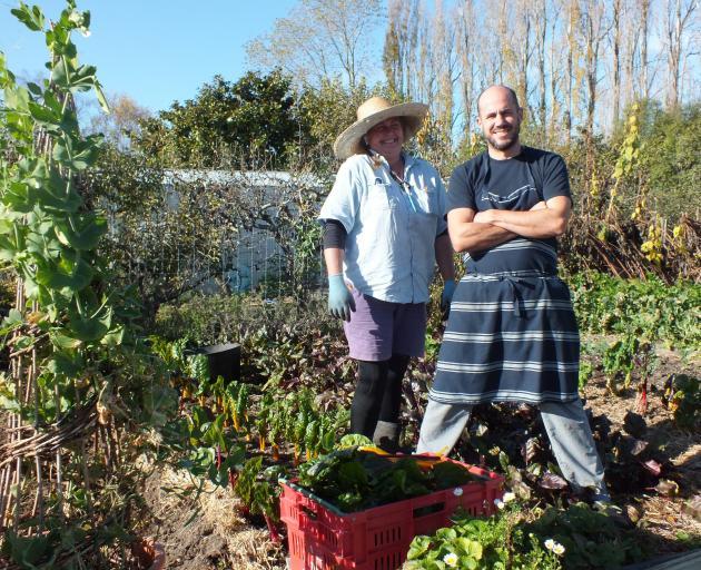 Gardener Ni Carter and chef Bevan Smith in Riverstone Kitchen's garden.