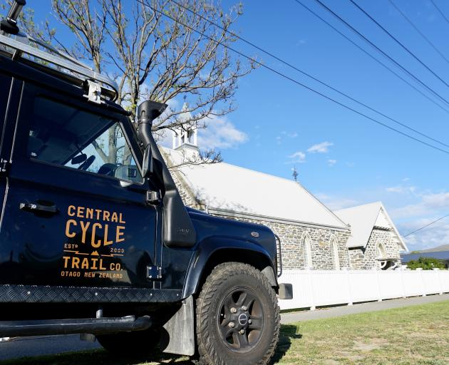 Central Cycle Trail Co vehicle outside the Stone Temple in Cromwell. PHOTO: GRANT BRADLEY
