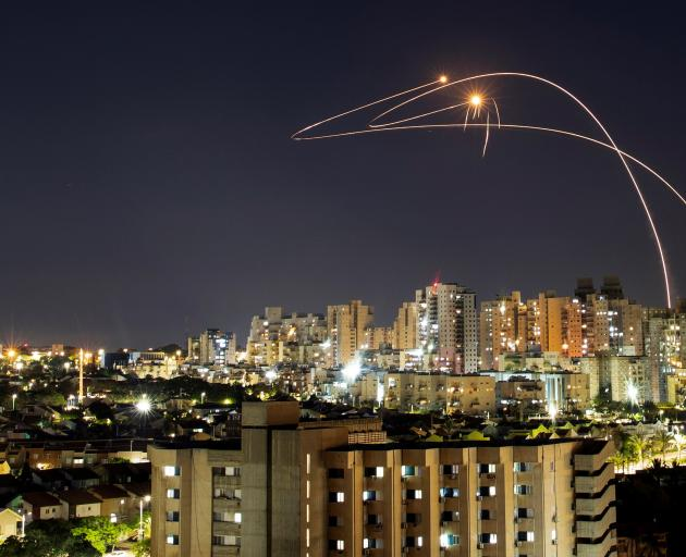 Israel's Iron Dome anti-missile system intercepts rockets launched from the Gaza Strip towards Israel. Photo: Reuters