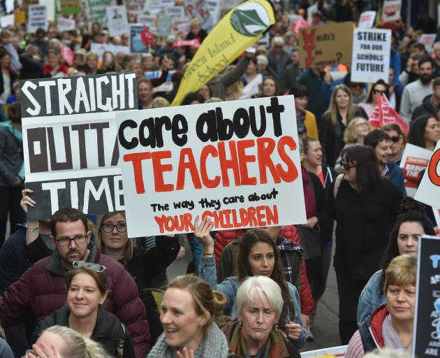 Teachers protest in Dunedin over a Government pay offer in 2019. PHOTO: ODT FILES