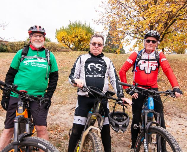 The first three riders to officially complete the Lake Dunstan Cycle and Walking Trail on...