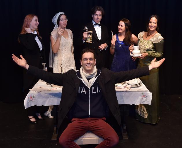 Thomas Makinson with some of the cast of his one act play (from left) AJ Keable, Erica Julian,...