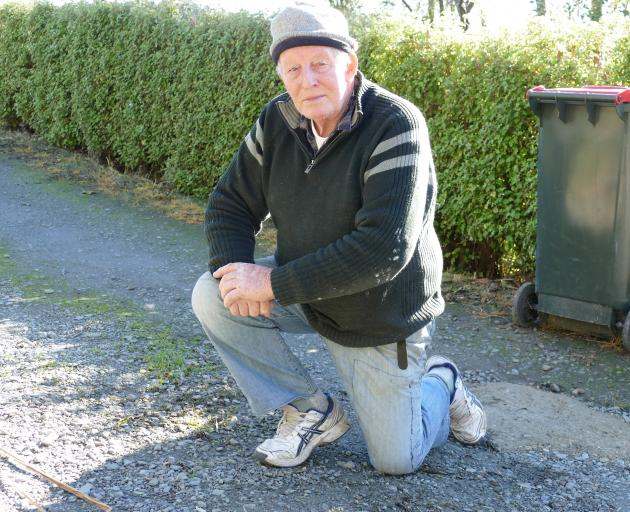 Allan Cross, of Kaitangata, kneels at he spot on his driveway where about 30 duck carcasses were...
