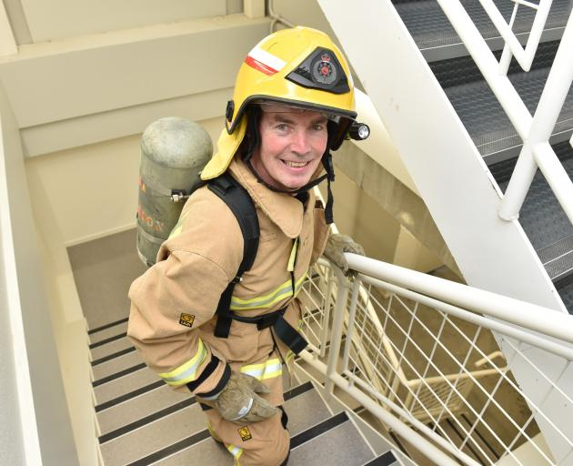 Practising for the Firefighter SkyTower Stair Challenge at the University of Otago Business...