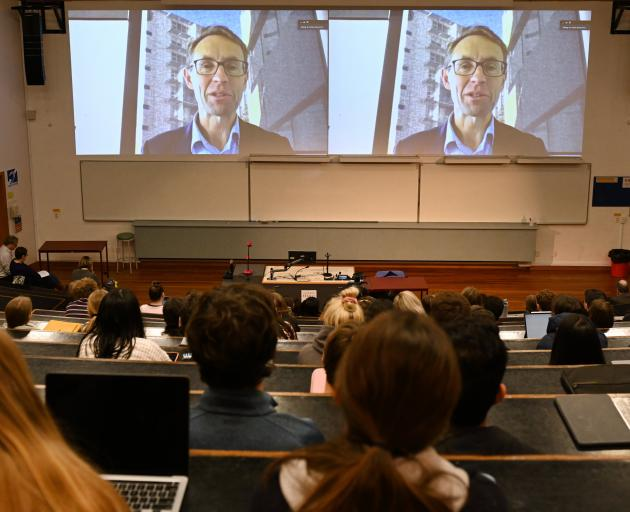 Director-general of health Dr Ashley Bloomfield speaks via video link to a University of Otago...