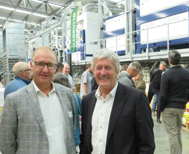 Luisetti Seeds production director Vincent Luisetti is with Agriculture Minister Damien O'Connor...