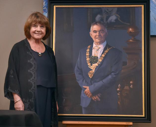 Dave Cull's official mayoral portrait was unveiled by his widow, Joan Wilson, and Dunedin Mayor...