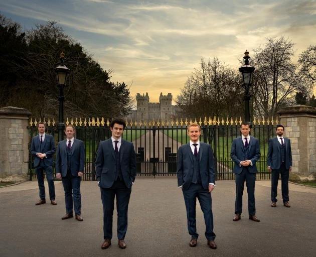 The Queen's Six a capella group, from left, Dan Brittain, Nick Madden, Tom Lilburn, Dom Bland,...