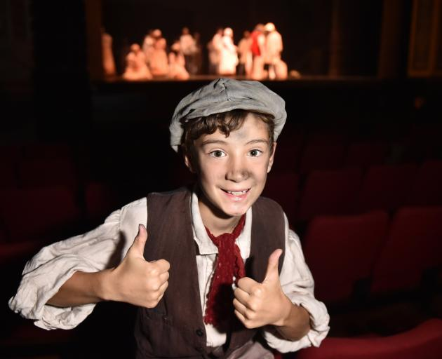 Felix Kamo in costume, ready to play Gavroche on the opening night of Les Miserables at the...