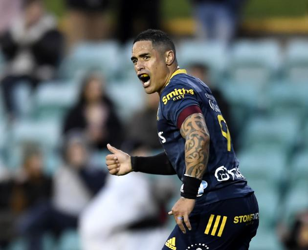 Aaron Smith looks to gee up the troops during a mixed display from the Highlanders. Photo: Getty...