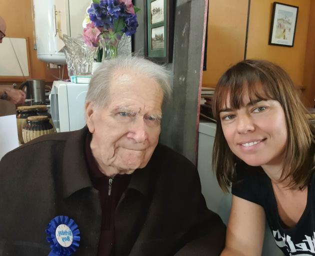 Bob Andrews on his 90th birthday with Celeste Donovan. Photo: Supplied
