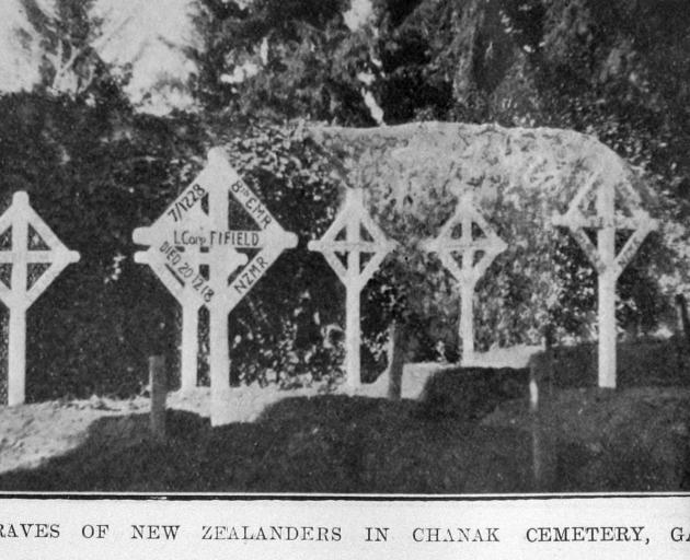 The graves of New Zealanders in Chanak cemetery, Gallipoli. — Otago Witness,3.5.1921.