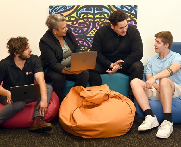 Mana Rangatahi Maori youth entrepreneurship programme participants (from left) Ben Somerville (22...