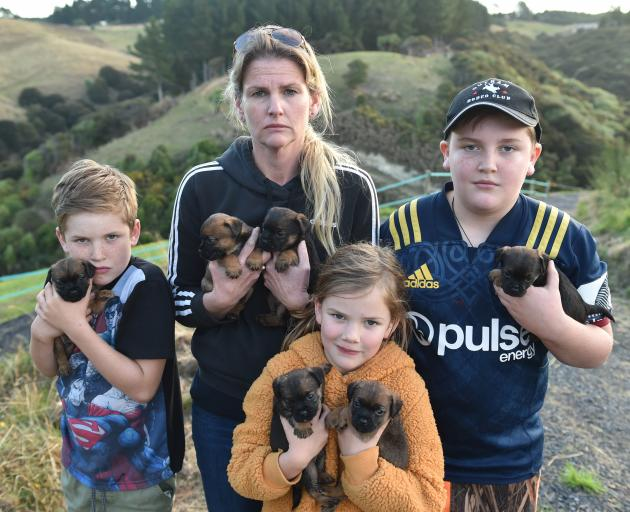 Holding the 4-week-old puppies from their two missing dogs are (from left) Beau (8), Pearl (6),...