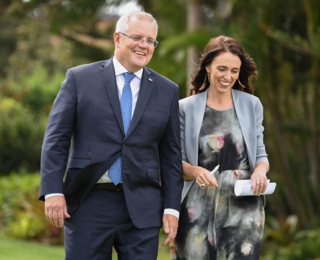 New Zealand Prime Minister, Jacinda Ardern and Australian Prime Minster, Scott Morrison share...