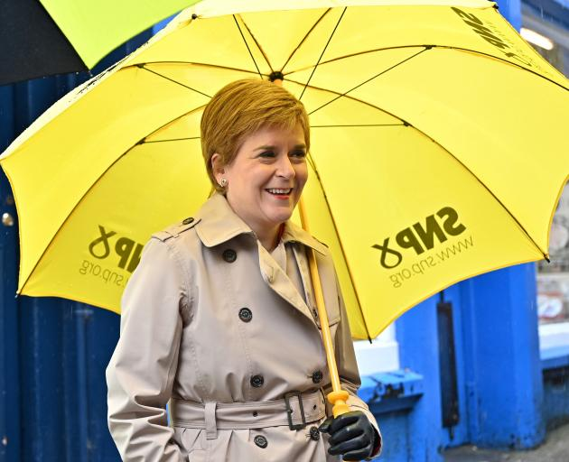Scotland's First Minister Nicola Sturgeon campaigning in Dumfries on Monday. Photo: Reuters