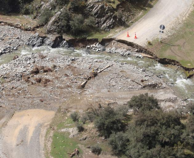 Parts of Danseys Pass were washed away during the flooding. PHOTO: WAITAKI DISTRICT COUNCIL