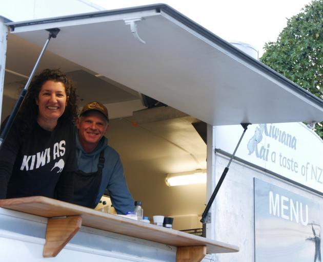 Rachel Kerr and Glenn Priddle have set up shop to sell true Kiwi whitebait patties. Photo: Oamaru Mail
