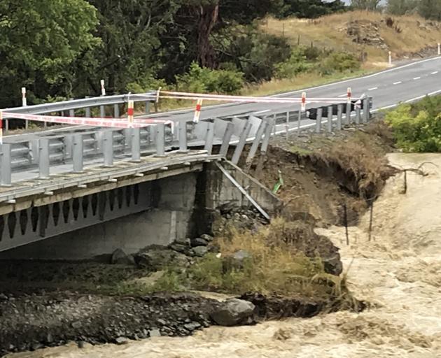 A section of Parsons Creek Bridge fell away because of flooding. PHOTO: ROBERT BAXTER