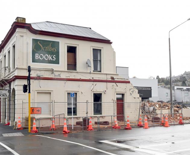 Demolition at the Scribes bookshop site in North Dunedin was halted last month. PHOTO: LINDA...