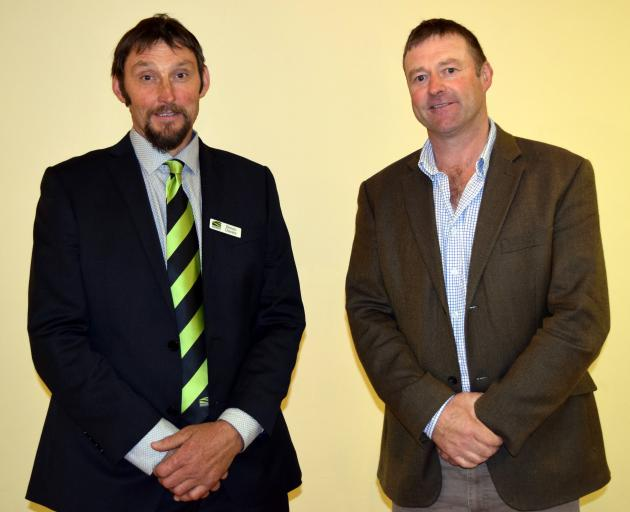 Former Federated Farmers Otago president Simon Davies (left)  and new president Mark Patterson...