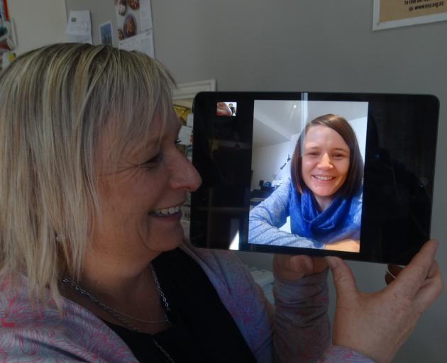 Leola Wilson, of Timaru, chats to her sister, Janina Ryder, who she plans to visit in Melbourne...