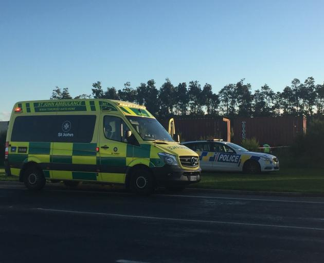 Emergency services at the scene of an incident on Bluff Highway this afternoon. Photo: Luisa Girao